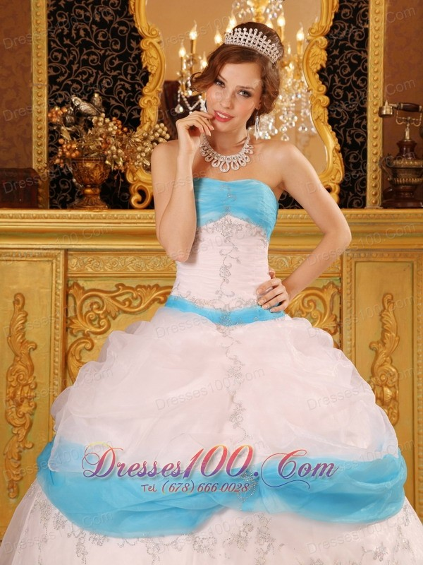 Perfect Pick-ups Blue and White Quinceanera Dress