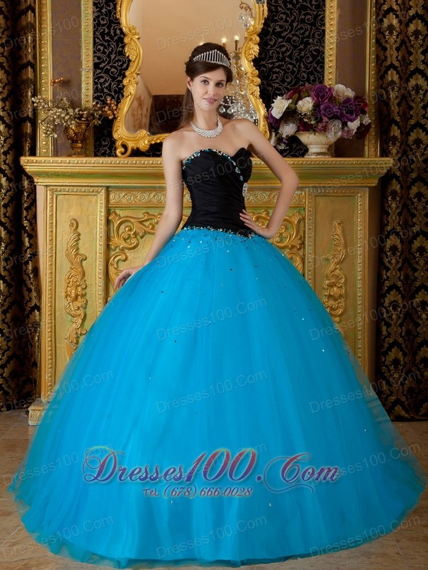 Sweetheart Black and Teal Quinceanera Dress 2013