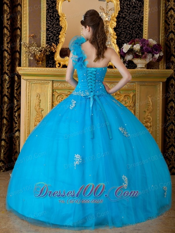 Sweet 16 Dress One Shoulder Hand Made Flower Appliques