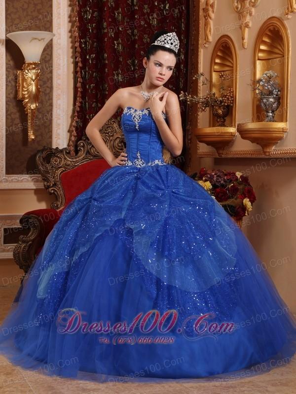 Blue Quinceanera Dress Appliques Ball Gown 2013 |Discount ...