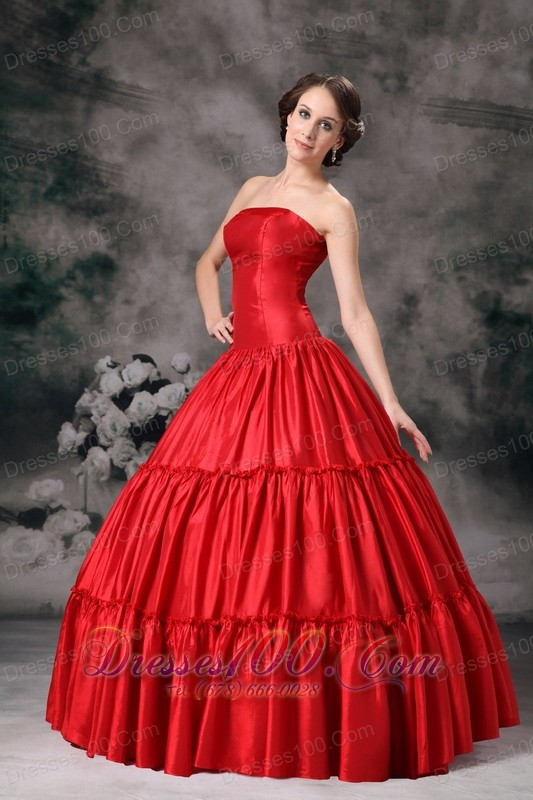 Strapless Ruch Red Quinceanera Dress 2013