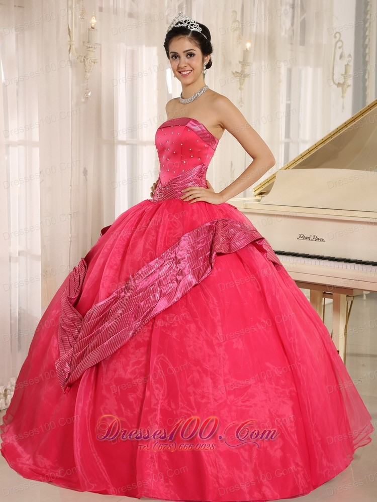 Coral Red Beaded 2013 Quinceanera Dress Ball Gown Sash