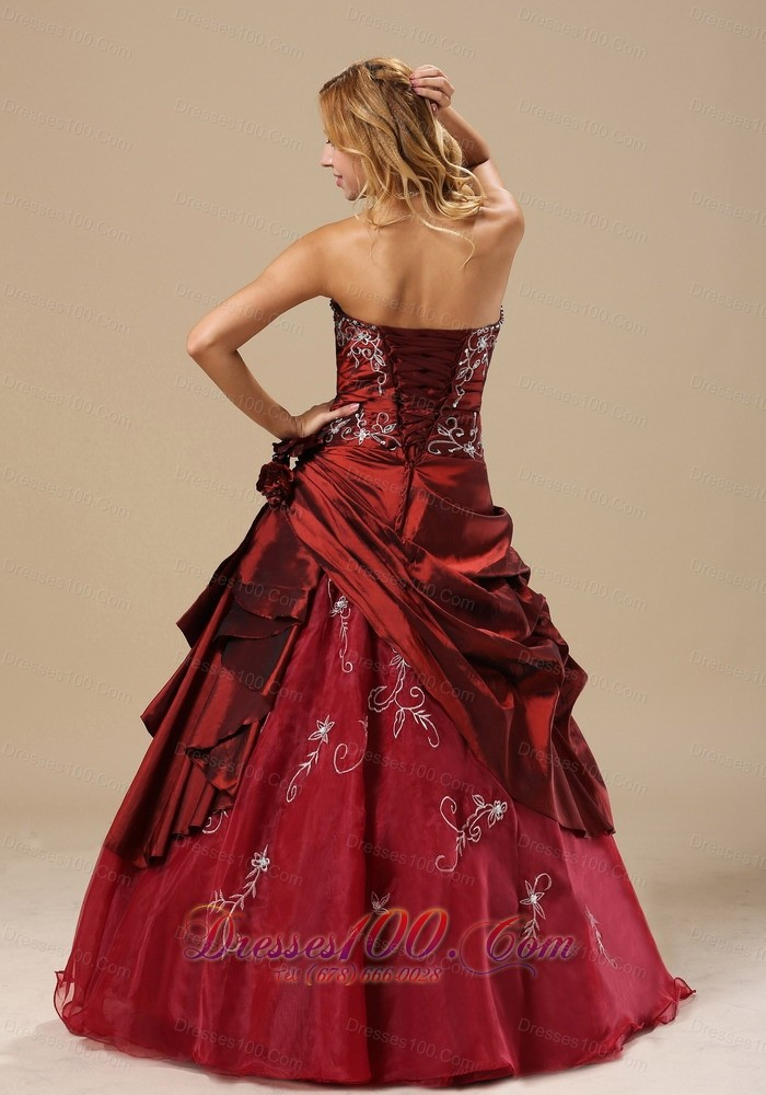 Strapless Embroidery Wine Red Sweet 16 Dress Embroidery