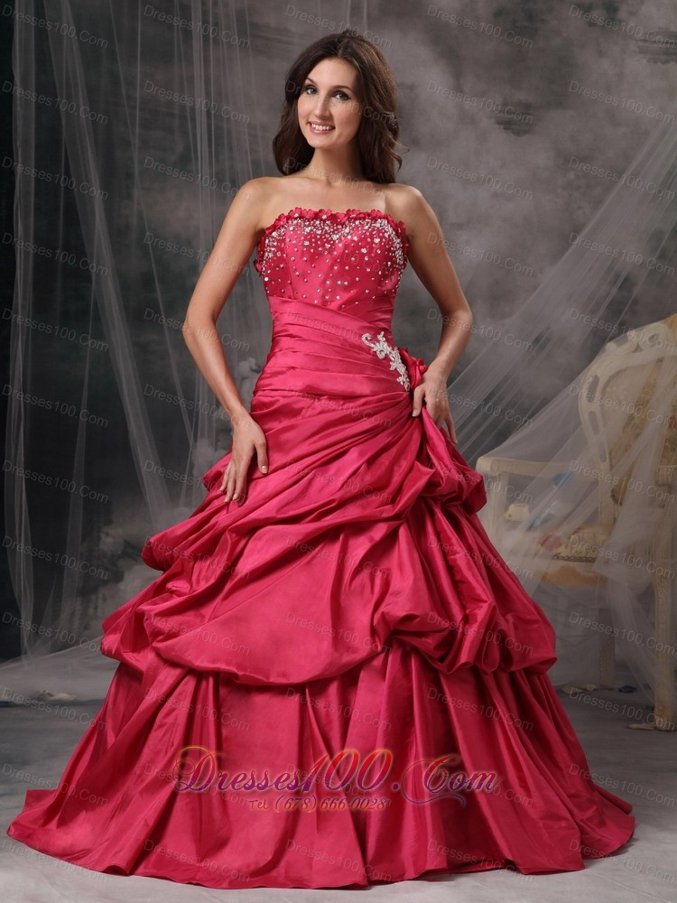 Coral Red A-Line Princess Strapless Prom Dress