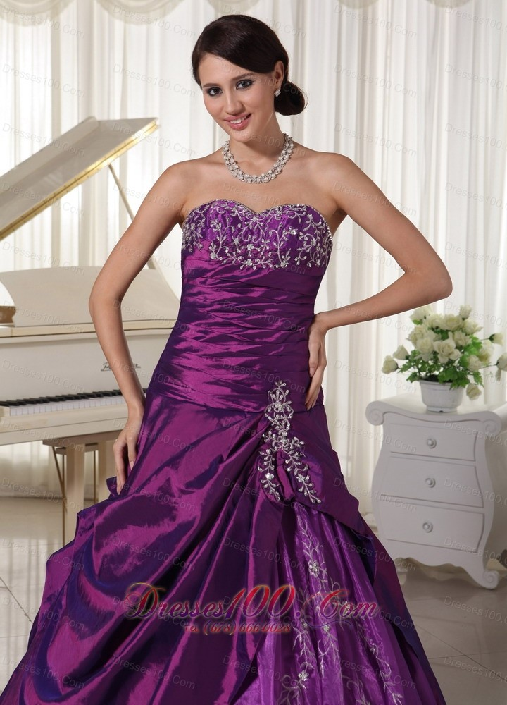 Taffeta Organza Purple Sweetheart Quinceanera Gowns Appliques