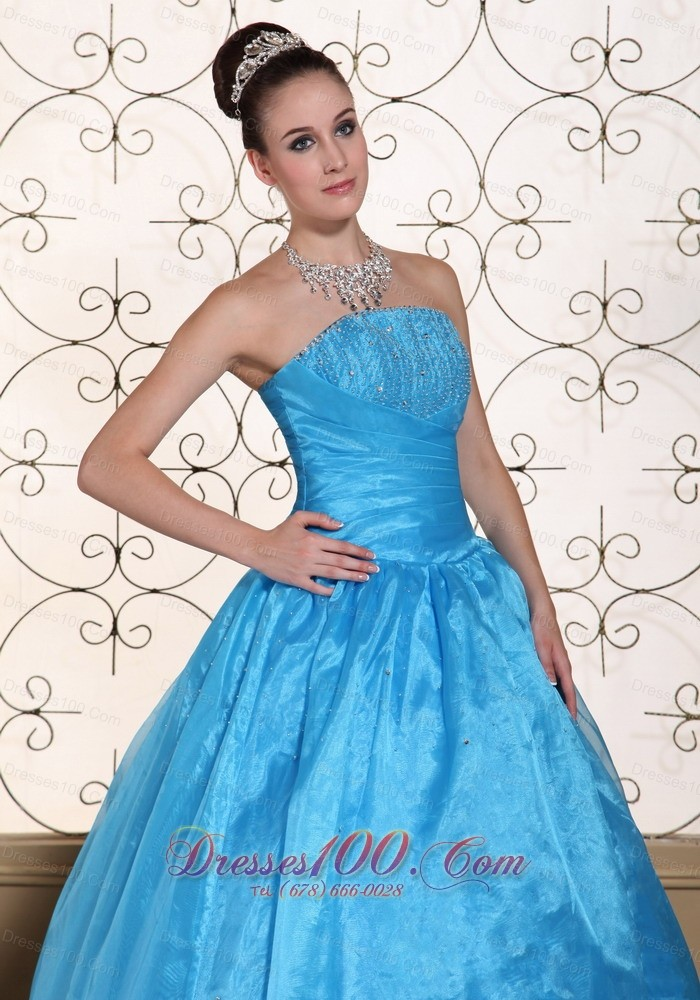 Strapless Quinceanera Dress Beaded Taffeta Organza