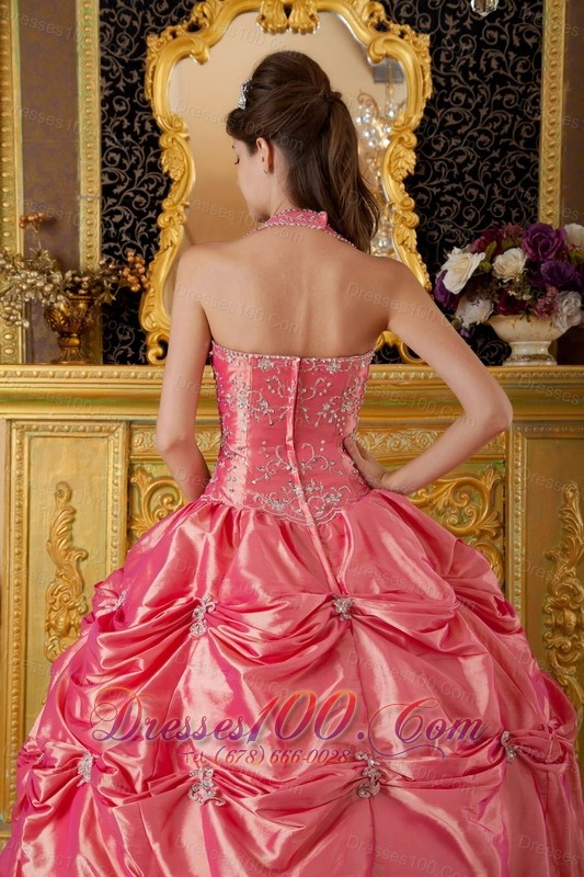 Watermelon Quinceanera Dress Halter Taffeta Appliques