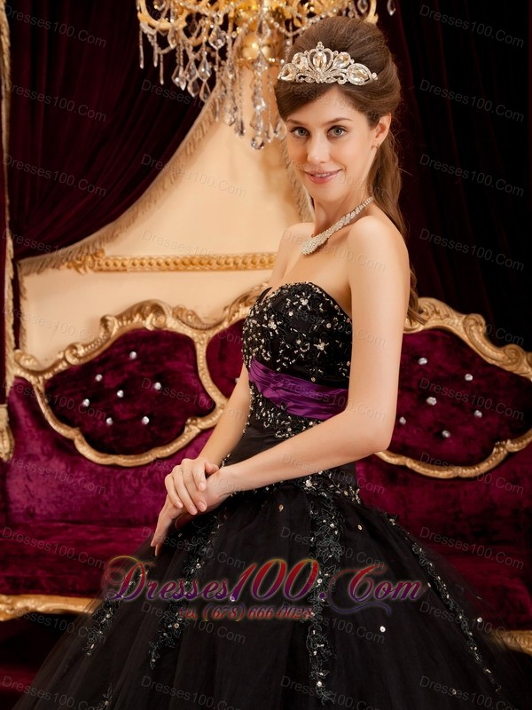 Black Quinceanera Gown Dress Sweetheart Tulle Appliques