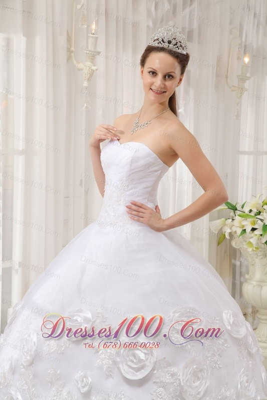 White Quinceanera Dress Sweetheart Organza Appliques