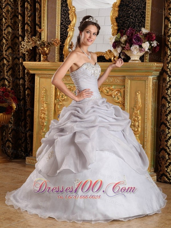 Quinceanera Ruched Dress Sweetheart Organza Beading