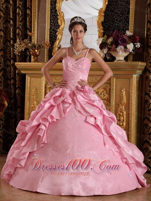 Pink Quinceanera Dress Straps Taffeta Beading Appliques