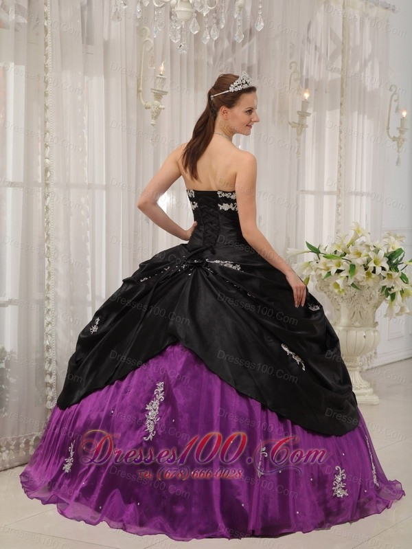 Black Purple Quinceanera Dress Strapless Taffeta Apppliques