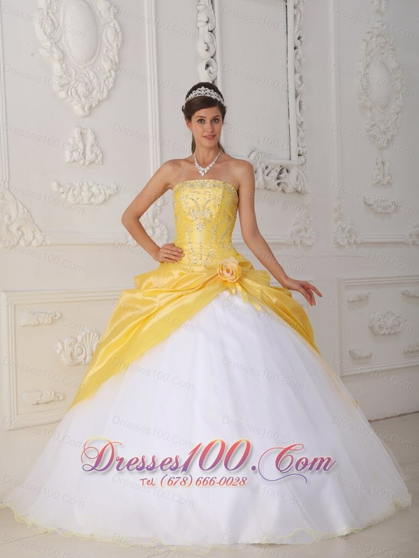 Yellow White Quinceanera Dress Strapless Organza Taffeta