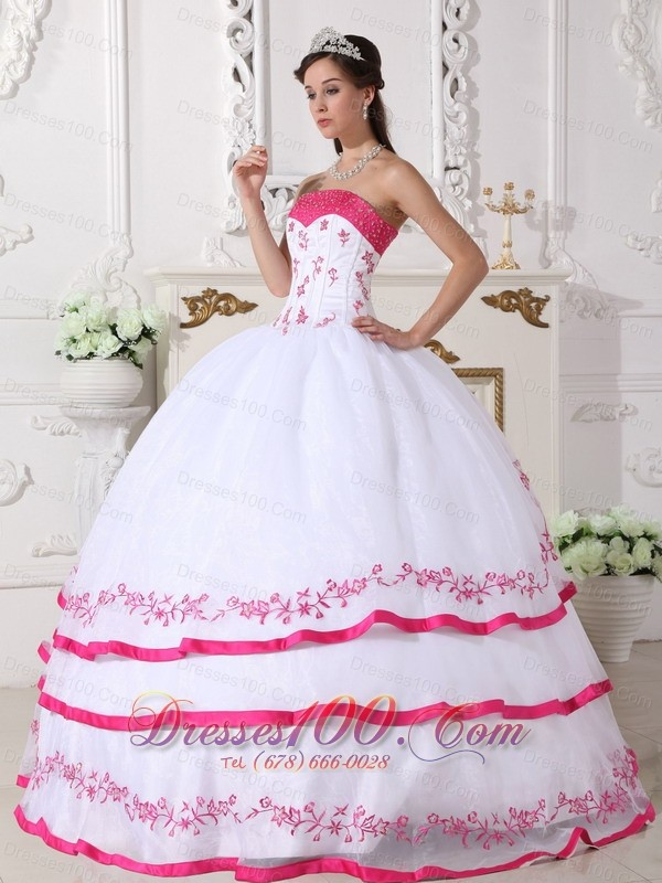 White Strapless Quinceanera Dress Organza Beading Embroidery
