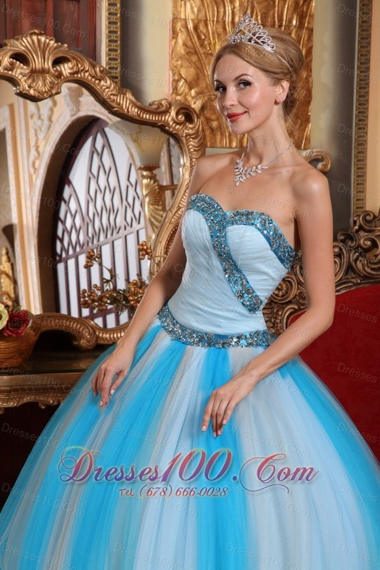 Sweetheart Ruched Trendy Tulle Beading Quinceanera Dress