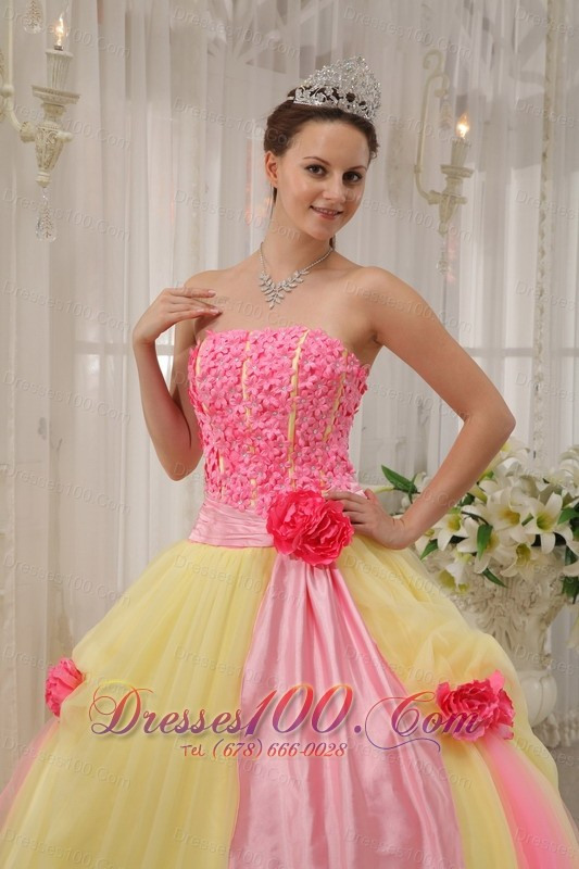 Handmade Flowers Pink and Yellow Tulle Qunceanera Dress
