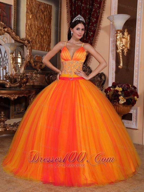 beaded tulle vneck orange red quinceanera dress vestidos