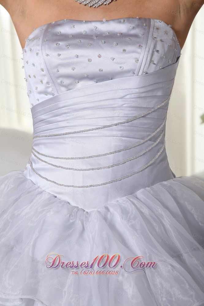 Strapless Gray Ruffled Organza Beading Dresses Quinceanera