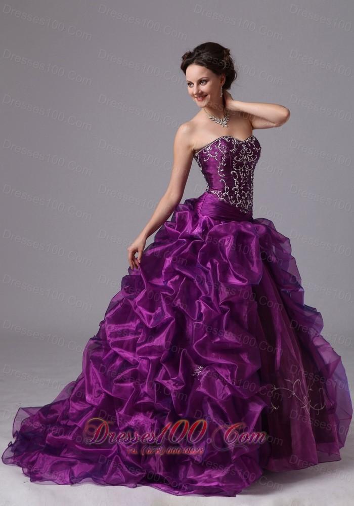 Embroidery and Pick-ups Eggplant Purple Sweep Train Dress for 15