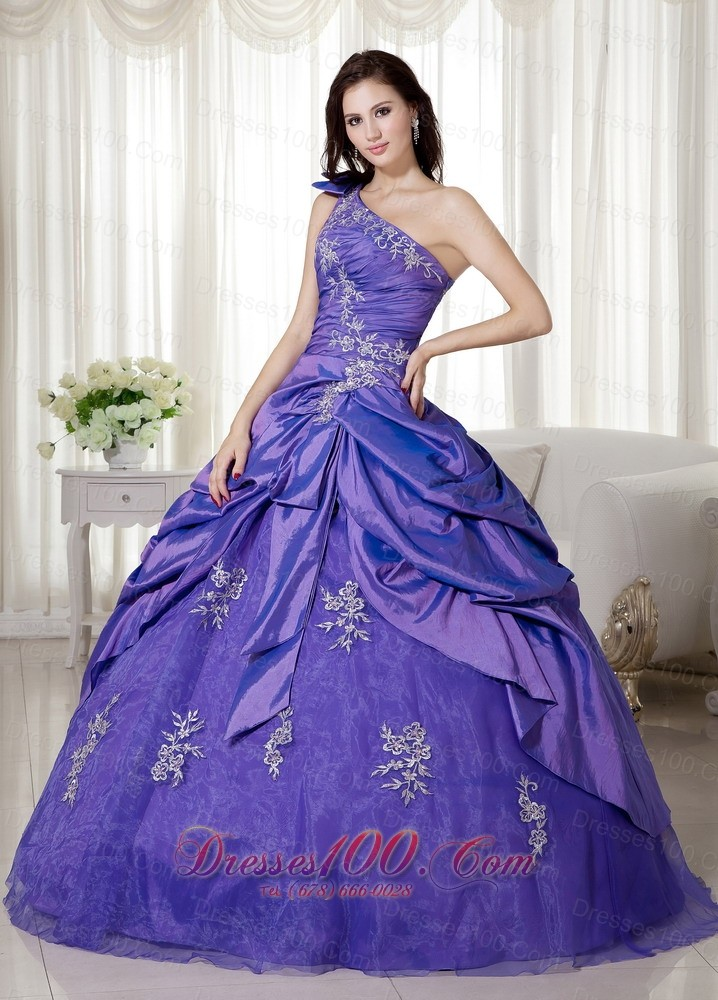 Taffeta Purple One Shoulder Appliques Quince Dresses