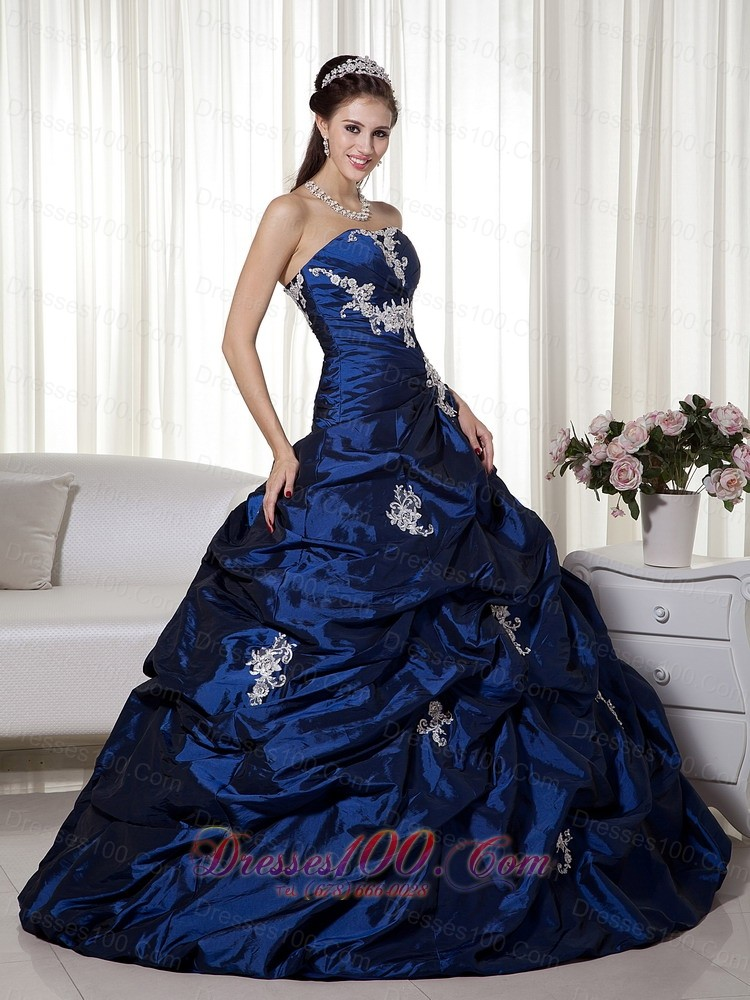 Appliques Navy Blue Ball Gown Taffeta Quinceanera Gown