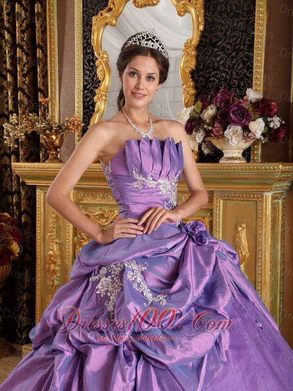 Lavender Sweet 16 Dresses Strapless Flowers and Appliques