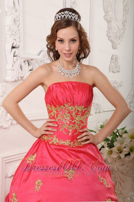 Ball Gown Coral Red Quinceanera Dress Beading and Appliques