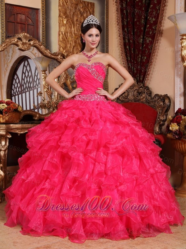 Coral Red Quinceanera Dress Sweetheart Organza Beading Pleats