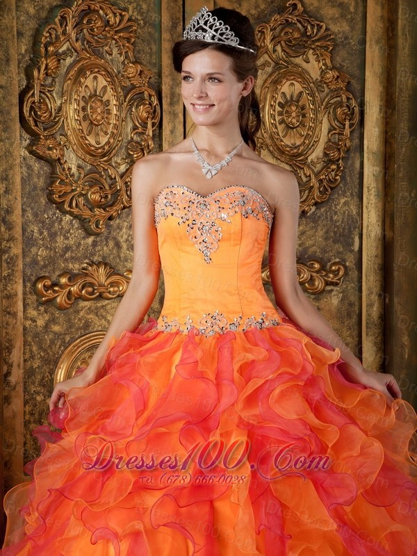 A-Line Orange Organza Quinceanera Dress Sweetheart Ruffles