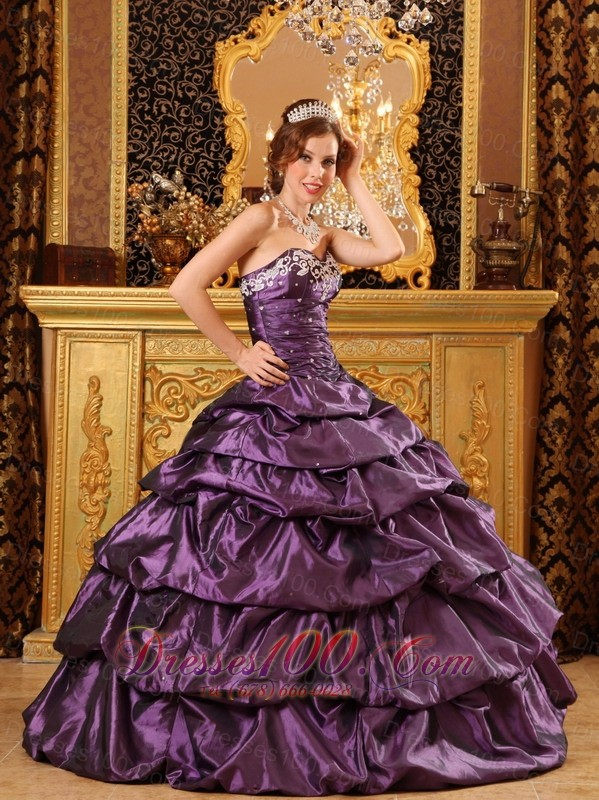 Dark Purple Taffeta Dress for Quinceanera Appliques Ball Gown