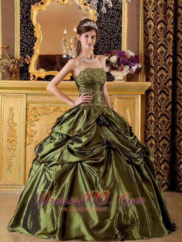 Olive Green Taffeta Appliques Handmade Flowers Quinceanera Dress