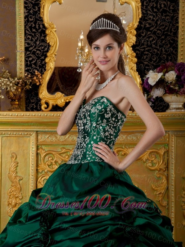 Taffeta Embroidery Dark Green Sweetheart Quinceanera Dress