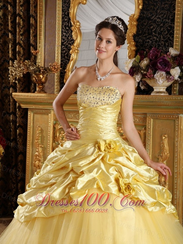 Modest Yellow Taffeta and Tulle Beading Dresses Quinceanera