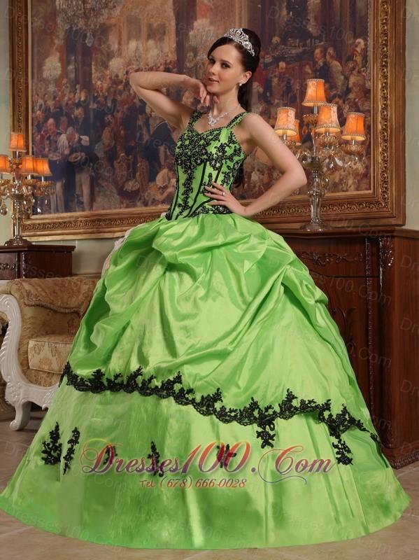 Light Green Taffeta Quince Dresses Spaghetti Straps Appliques