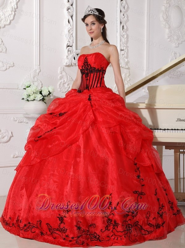 Red and Black Organza Appliques Ball Gown Dress for 15