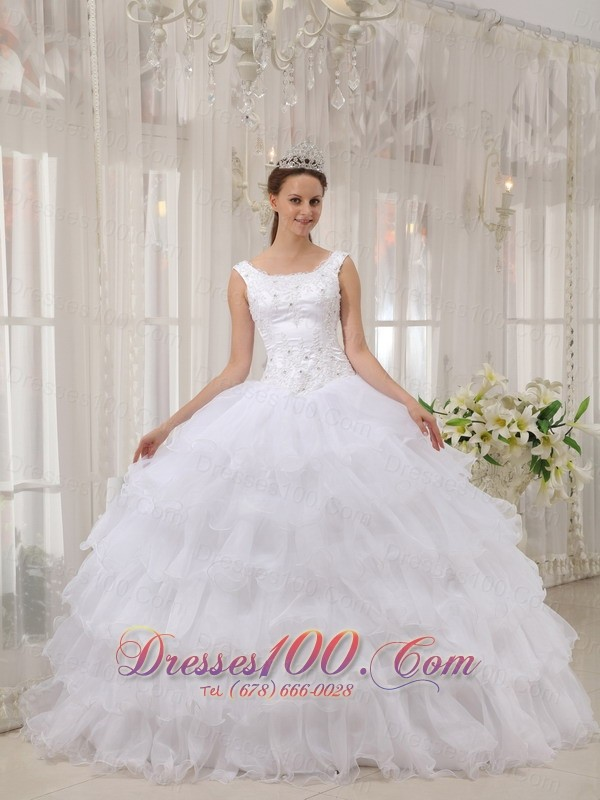 White Scoop Quinceanera Dress Satin and Organza Appliques