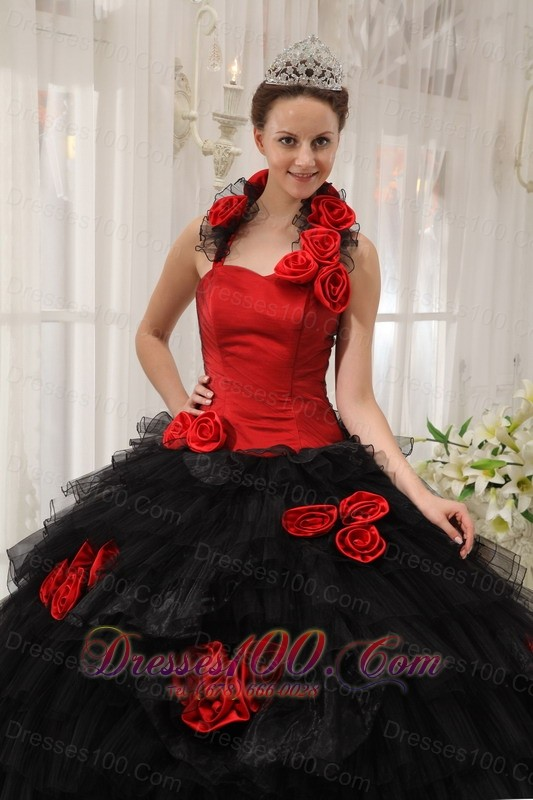Halter Colorful Ball Gown Taffeta and Organza Hand Flowers 16 Dress