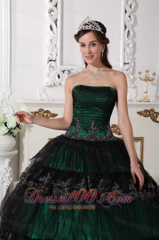 Dark Green Dresses for Quince Ball Gown Taffeta and Tulle Appliques