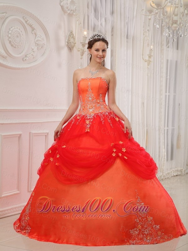 Taffeta and Tulle Orange Red Quinceanera Dress Appliques