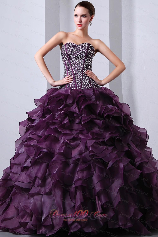 Organza Dark Purple Princess Beading and Ruffles Quinceanea Dress