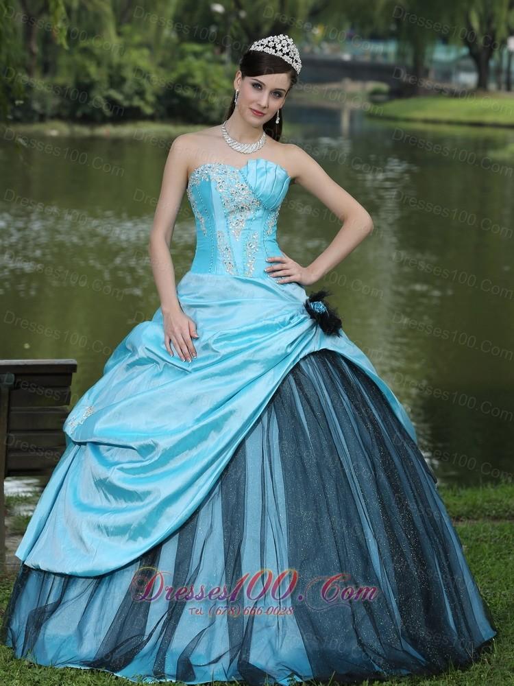 Beaded Aqua Blue Taffeta 2013 Quinceanera Dress On Sale