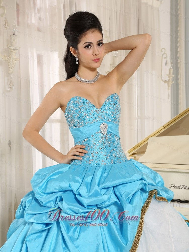 Beaded and Pick-ups for Aqua Blue and White 15 Dress Ruffled Layers