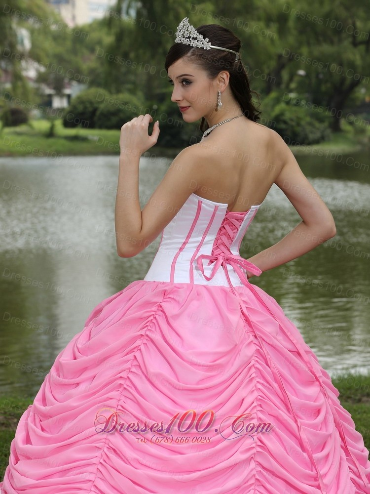 Quinceanera Dress With Pick-ups Rose Pink Chiffon Satin