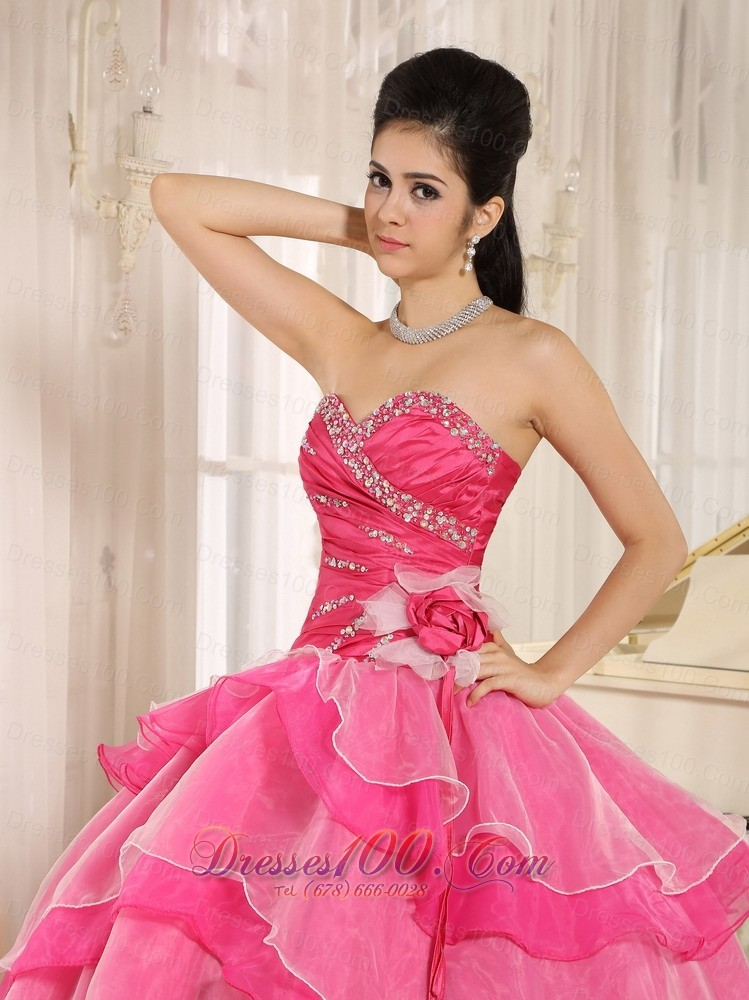 Beaded and Ruch Hot Pink Ruffled Layers Quinceanera Dress