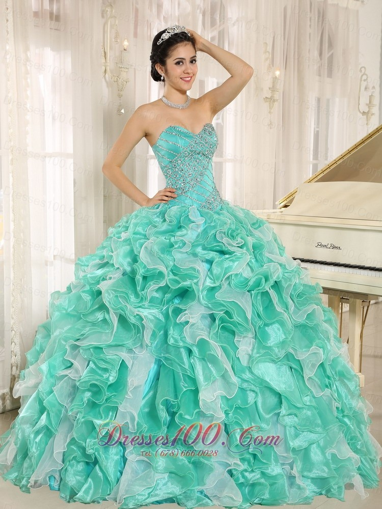 Apple Green Beaded and Ruffles Dress for 2013 Quinceanera