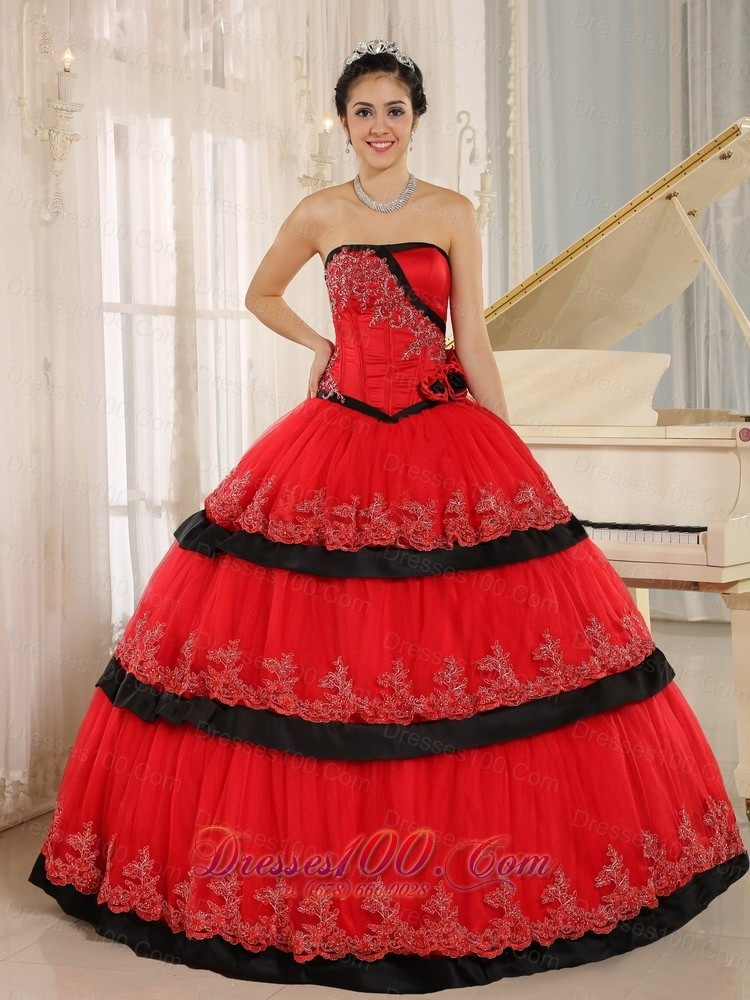 Red Handmade Flowers Lace for 2013 Quinceanera Dress |New ...