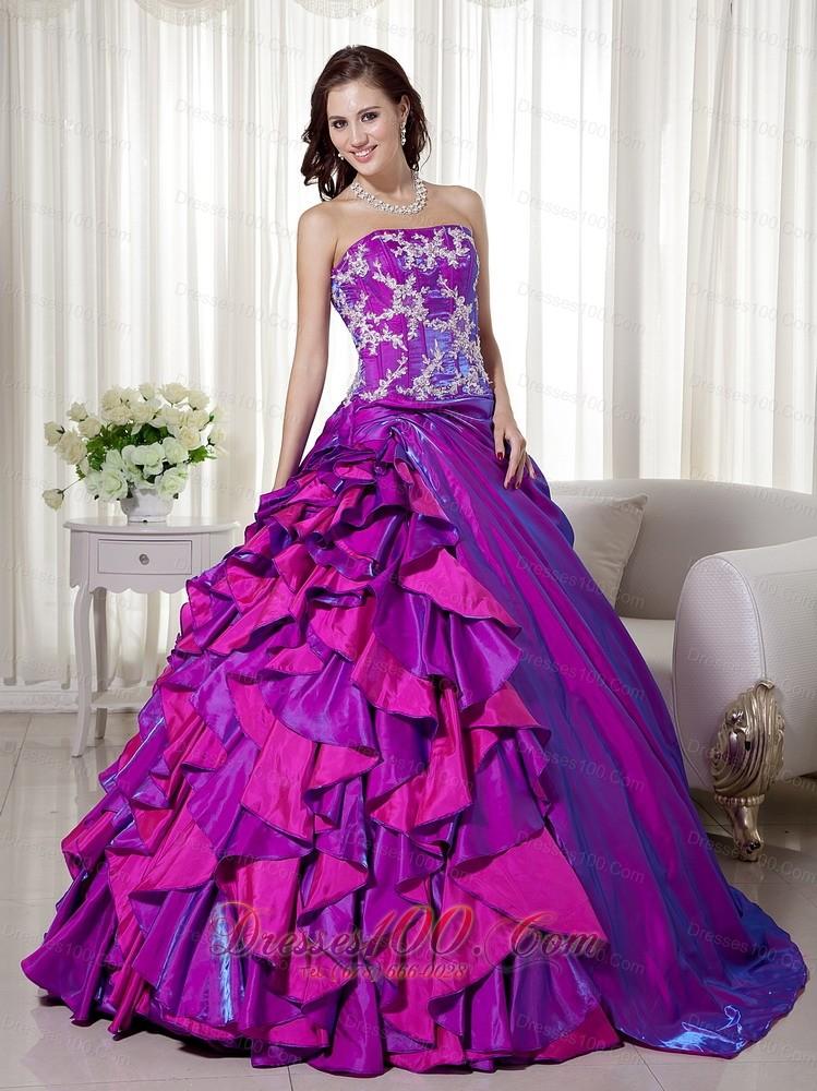 Strapless Purple Taffeta Appliques Quinceanera Dress Wholesale