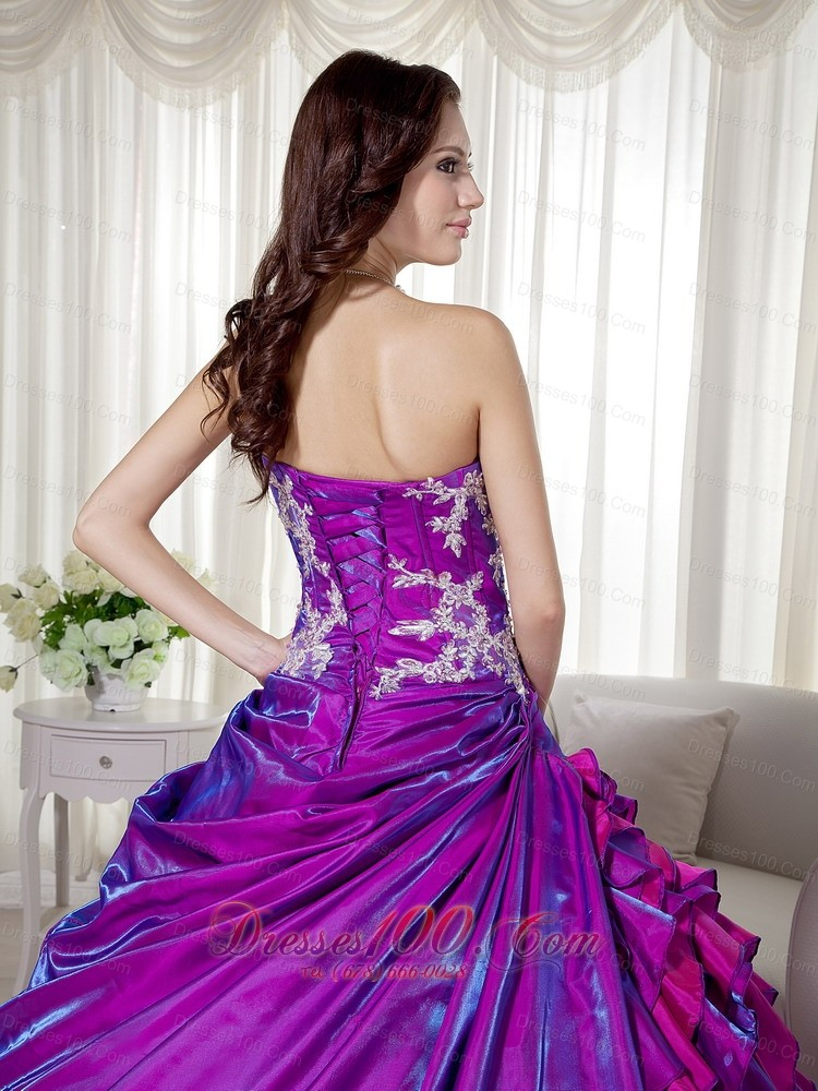 Strapless Purple Taffeta Appliques Quinceanera Dress Wholesale