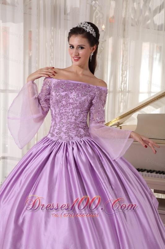 Lavender Off Shoulder Taffeta Appliques Dress for Girls