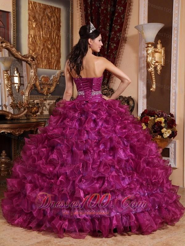 Sweetheart Fuchsia Floor-length Dresses Of 15 Organza Beading